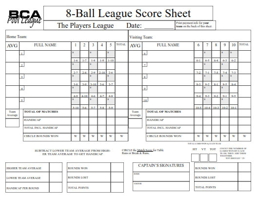 bca 8-ball scoresheet